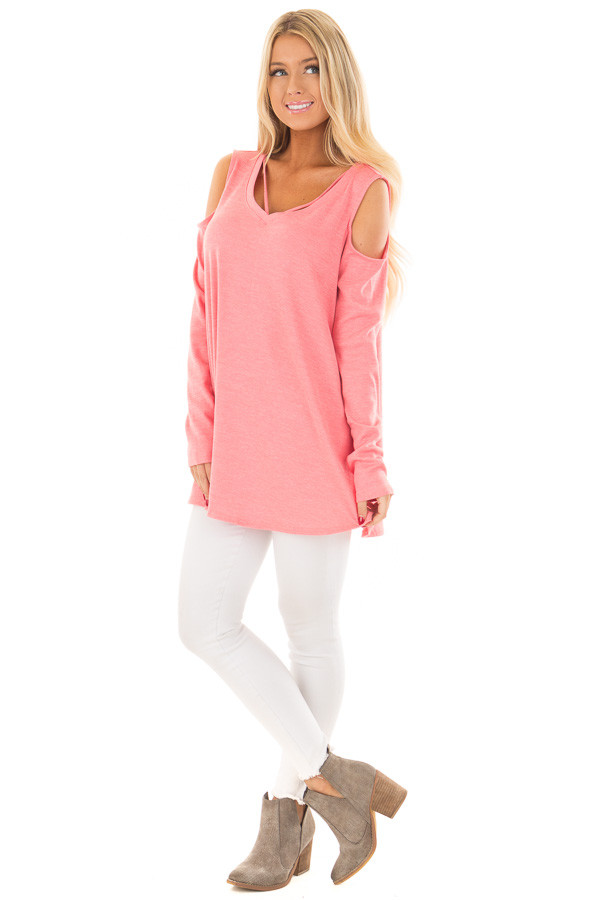 Coral Cold Shoulder Top with Strap Detail front full body