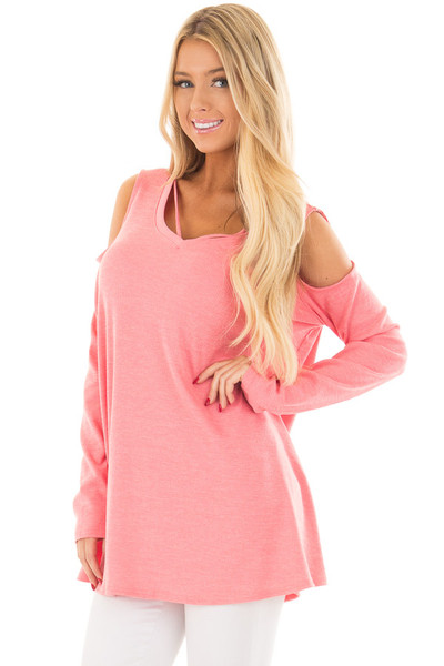 Coral Cold Shoulder Top with Strap Detail front closeup