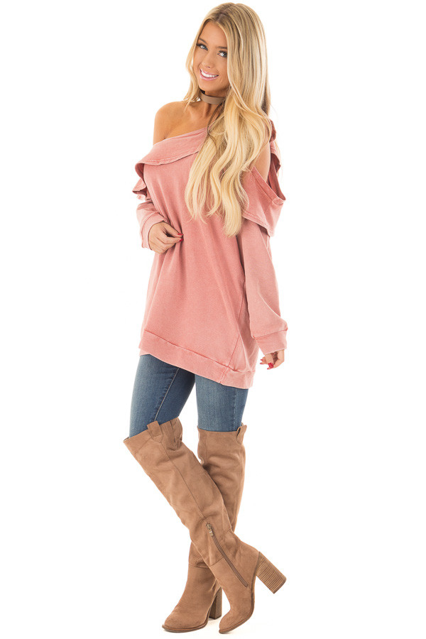 Faded Pink Bare Shoulder Top with Loose Ruffle Detail front full body