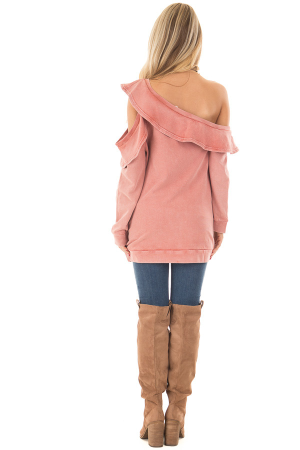 Faded Pink Bare Shoulder Top with Loose Ruffle Detail back full body
