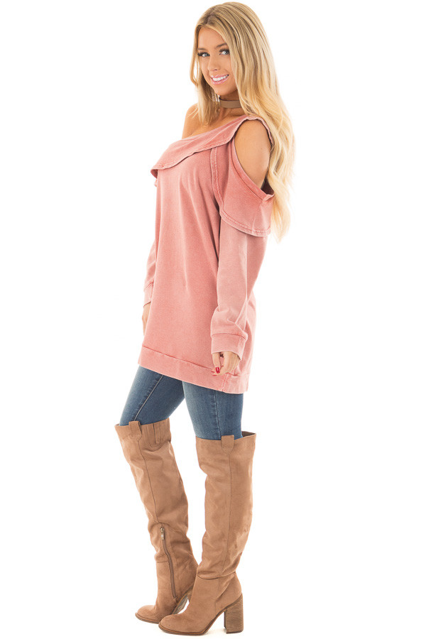 Faded Pink Bare Shoulder Top with Loose Ruffle Detail side full body