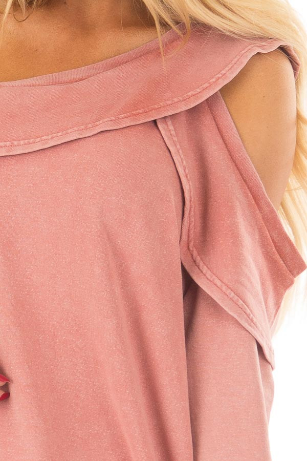 Faded Pink Bare Shoulder Top with Loose Ruffle Detail front detail