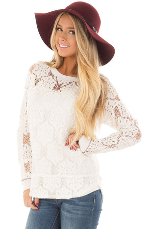 Off White Sheer Floral Lace Long Sleeve Top front closeup