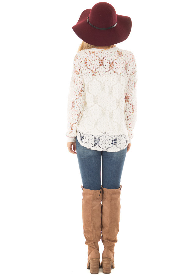 Off White Sheer Floral Lace Long Sleeve Top back full body