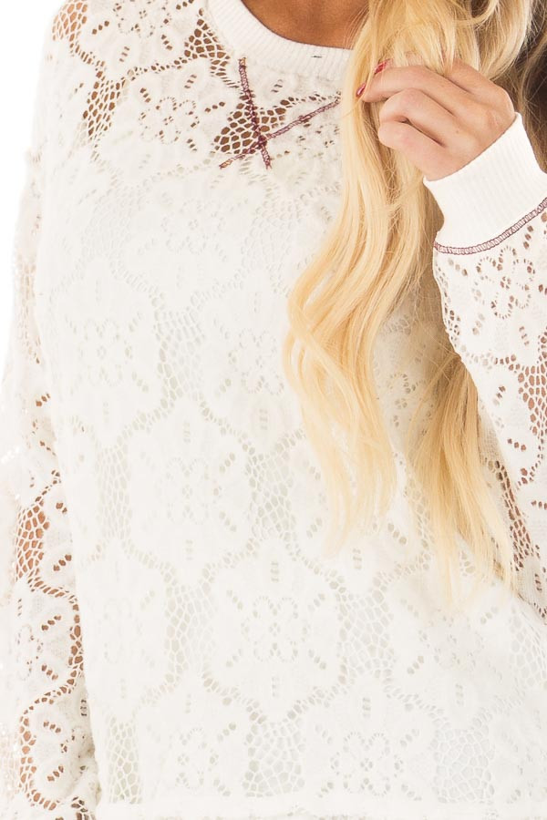 Off White Sheer Floral Lace Long Sleeve Top front detail