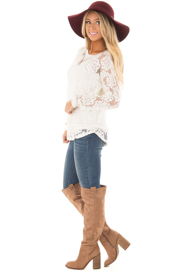 Off White Sheer Floral Lace Long Sleeve Top side full body