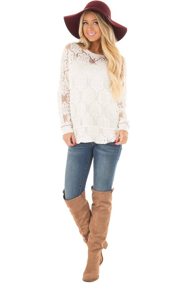Off White Sheer Floral Lace Long Sleeve Top front full body