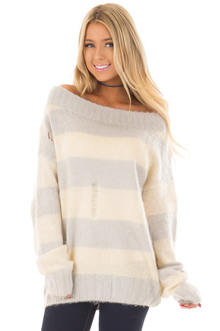 Light Grey Striped Distressed Off Shoulder Sweater front closeup