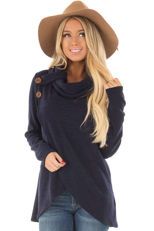 Navy Cowl Neck Wrap Style Sweater with Button Details front closeup