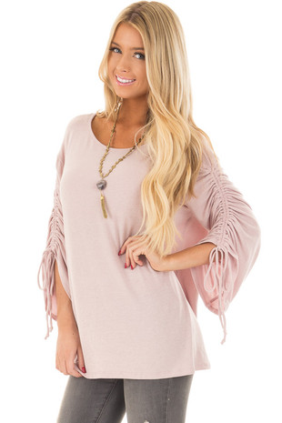 Pink Rose Wide Sleeve Top with Ruched Detail front closeup