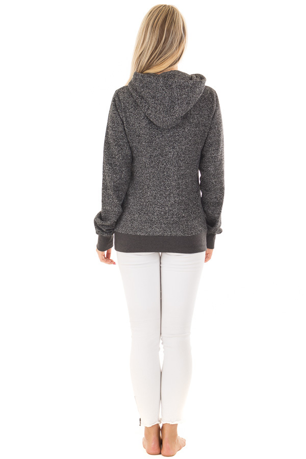 Black Two Tone Pull Over Hoodie with Kangaroo Pocket back full body