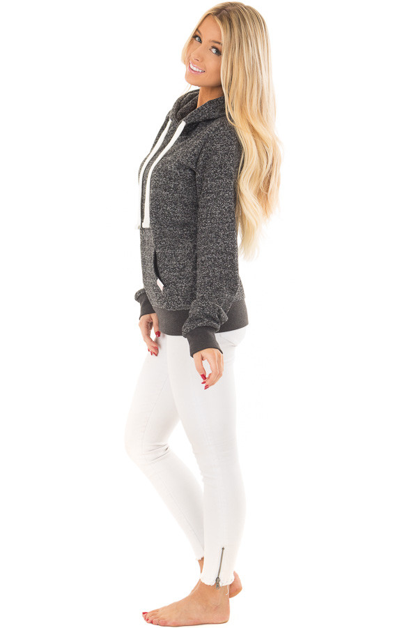 Black Two Tone Pull Over Hoodie with Kangaroo Pocket side full body