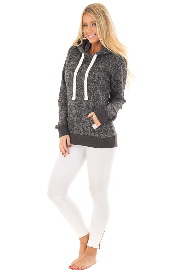 Black Two Tone Pull Over Hoodie with Kangaroo Pocket front full body