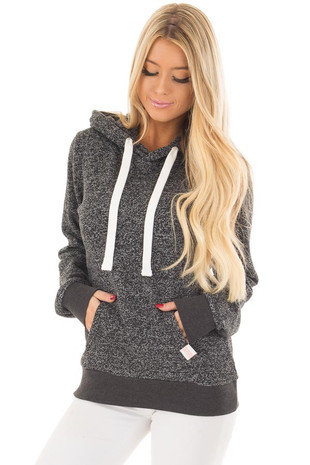 Black Two Tone Pull Over Hoodie with Kangaroo Pocket front closeup