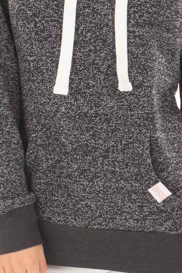 Black Two Tone Pull Over Hoodie with Kangaroo Pocket front detail