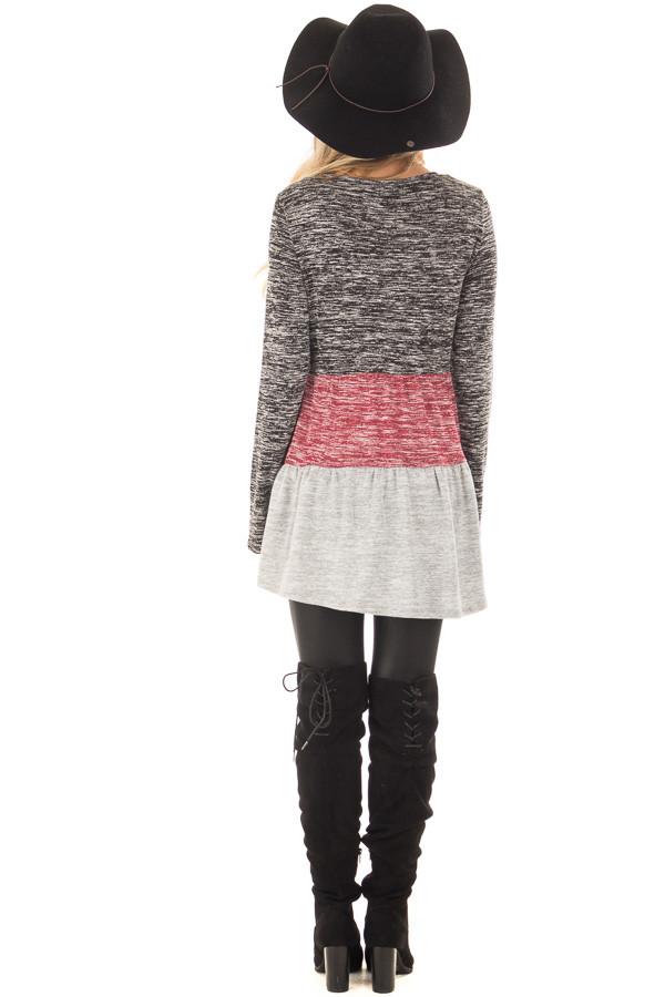 Ash Burgundy and Grey Color Block Two Tone Tunic back full body
