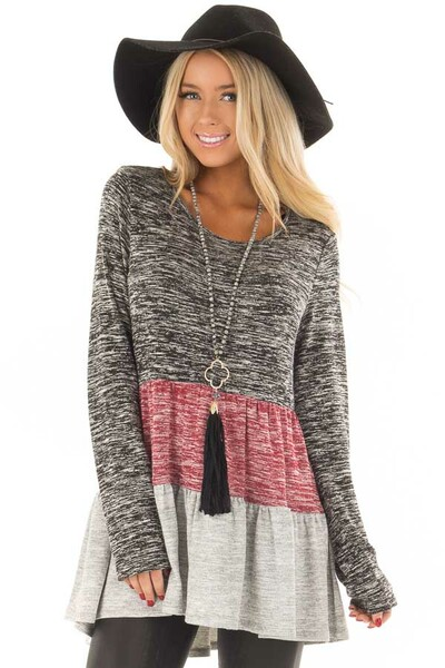 Ash Burgundy and Grey Color Block Two Tone Tunic front closeup