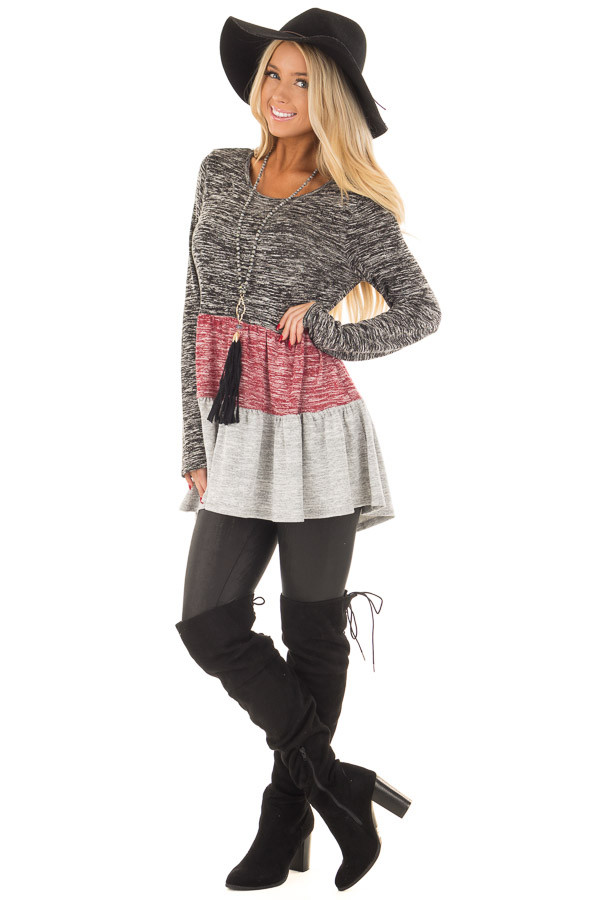Ash Burgundy and Grey Color Block Two Tone Tunic front full body