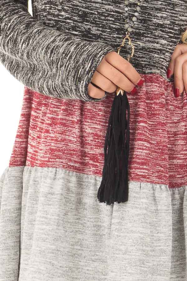 Ash Burgundy and Grey Color Block Two Tone Tunic front detail