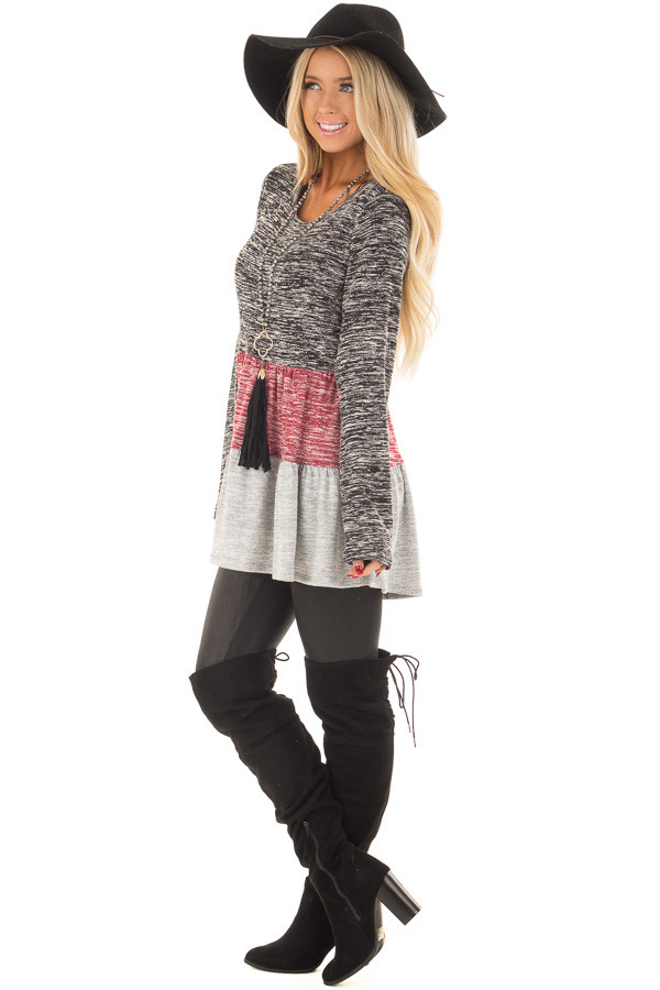 Ash Burgundy and Grey Color Block Two Tone Tunic side full body