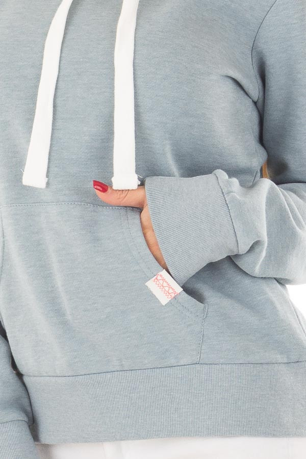 Dusty Blue Hoodie with Kangaroo Pocket front detail