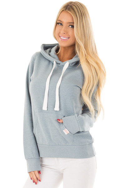 Dusty Blue Hoodie with Kangaroo Pocket front closeup