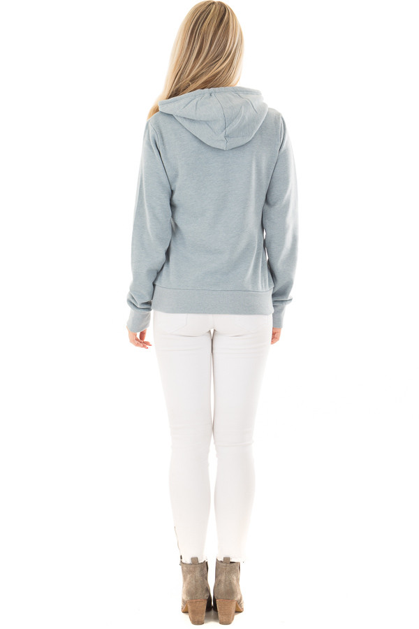 Dusty Blue Hoodie with Kangaroo Pocket back full body