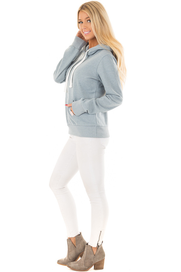 Dusty Blue Hoodie with Kangaroo Pocket side full body