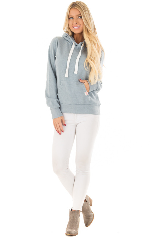 Dusty Blue Hoodie with Kangaroo Pocket front full body