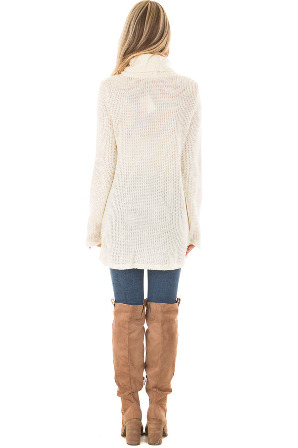 Ivory Cowl Neck Crossover Sweater with Button Details back full body