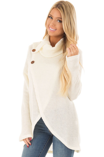 Ivory Cowl Neck Crossover Sweater with Button Details front closeup