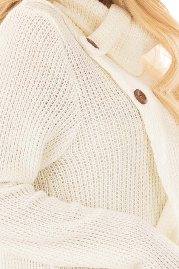 Ivory Cowl Neck Crossover Sweater with Button Details side detail