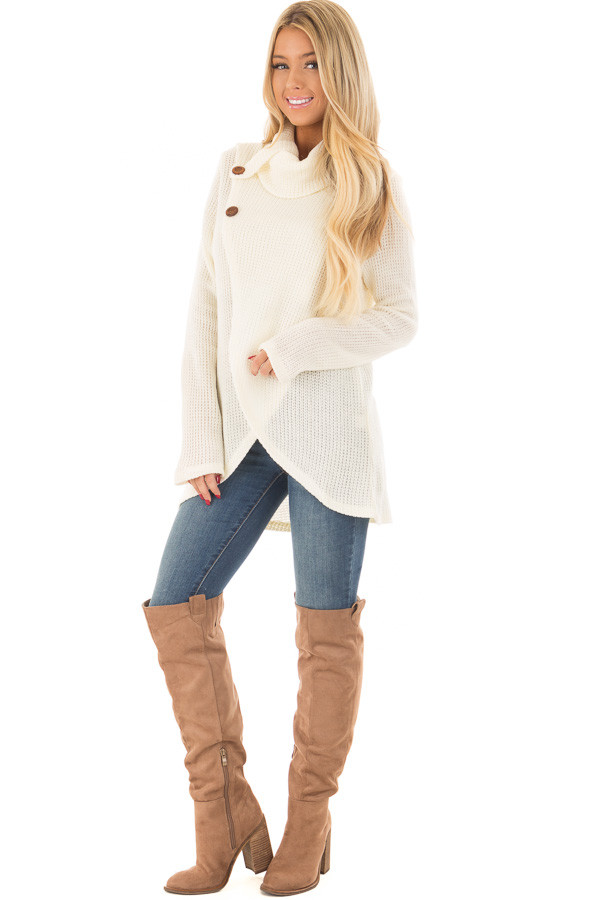 Ivory Cowl Neck Crossover Sweater with Button Details front full body