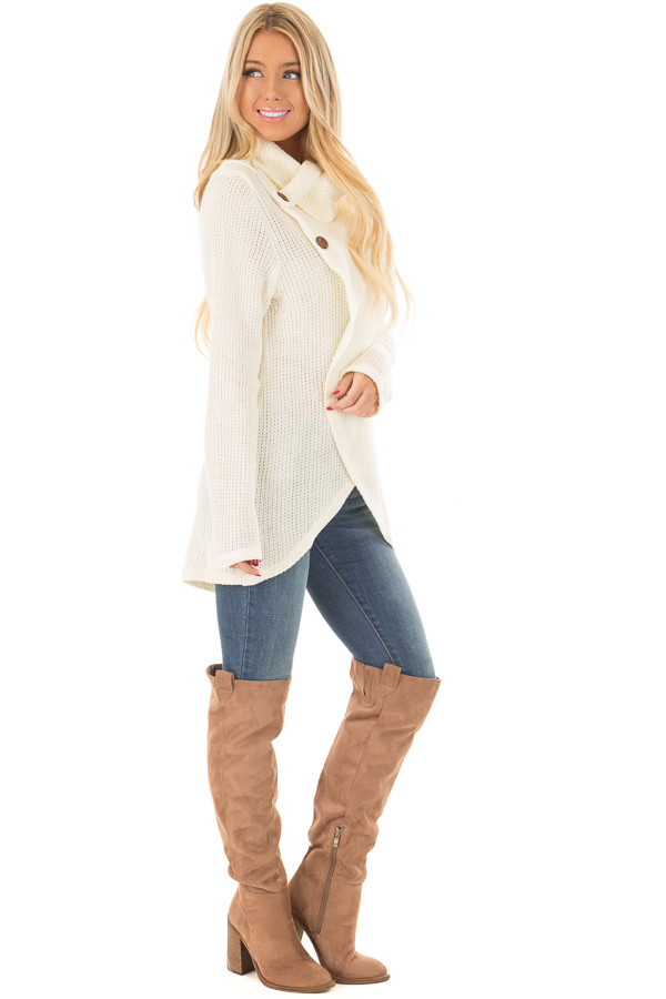 Ivory Cowl Neck Crossover Sweater with Button Details side full body