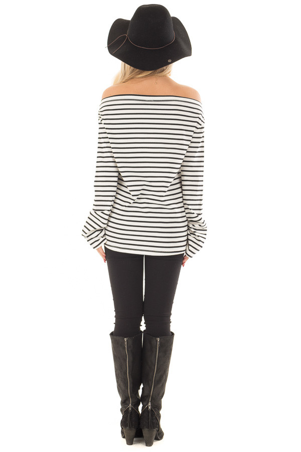 Off White and Black Striped Off Shoulder Long Sleeve Top back full body