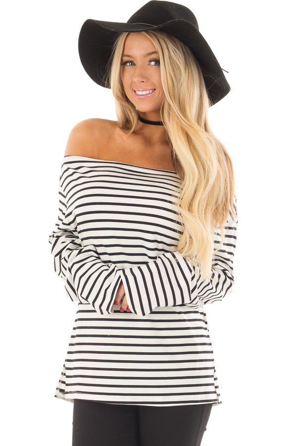 Off White and Black Striped Off Shoulder Long Sleeve Top front closeup