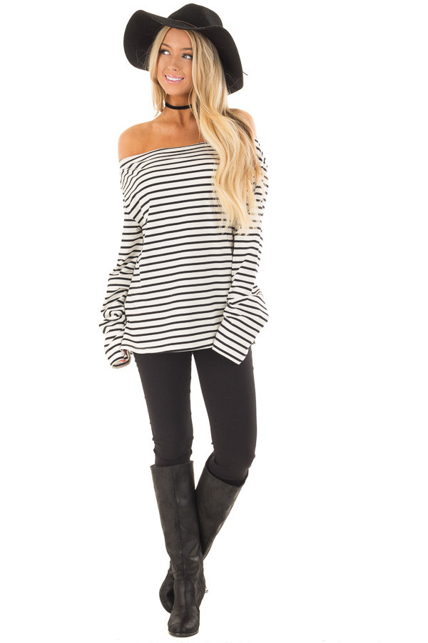 Off White and Black Striped Off Shoulder Long Sleeve Top front full body