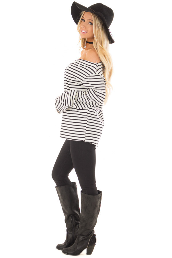 Off White and Black Striped Off Shoulder Long Sleeve Top side full body