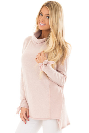Blush Turtle Neck Top with Textured Contrast front closeup