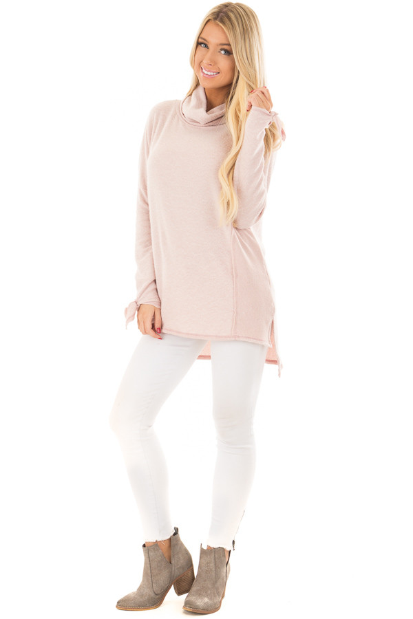 Blush Turtle Neck Top with Textured Contrast front full body
