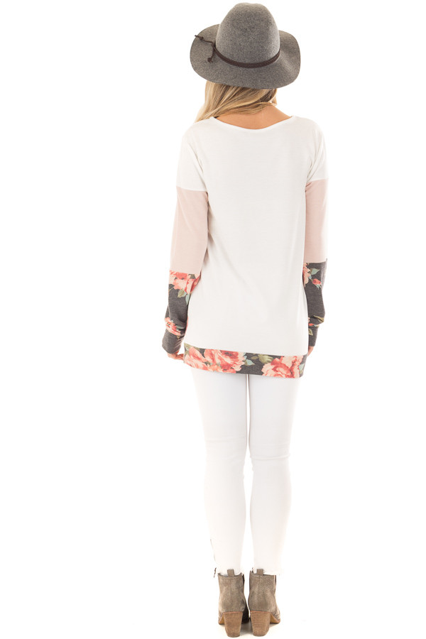 Ivory and Blush Color Block Top with Front Pocket back full body