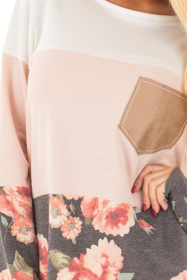 Ivory and Blush Color Block Top with Front Pocket detail
