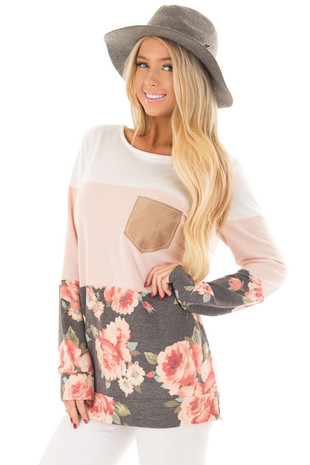 Ivory and Blush Color Block Top with Front Pocket front close up