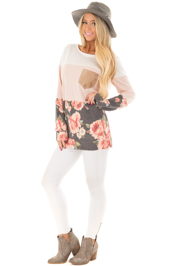 Ivory and Blush Color Block Top with Front Pocket front full body