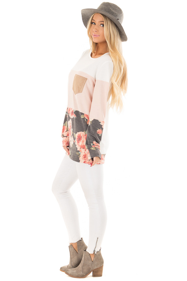 Ivory and Blush Color Block Top with Front Pocket side full body