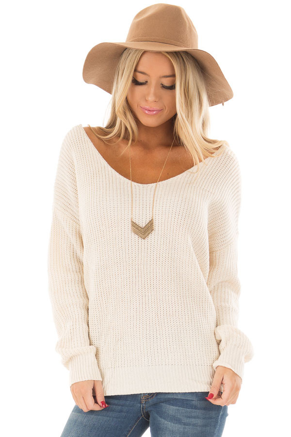 Ivory Knit Sweater with Twisted Open Back front closeup