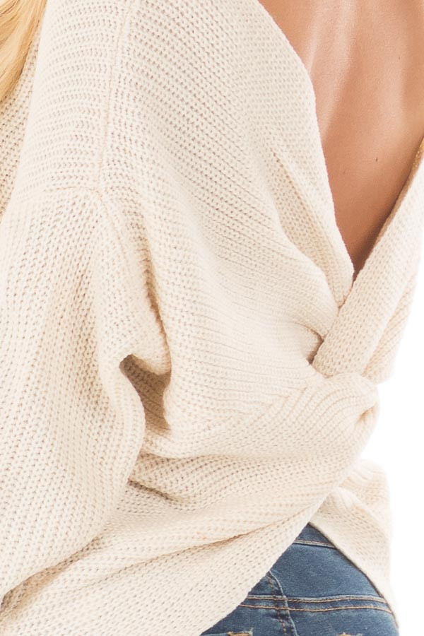 Ivory Knit Sweater with Twisted Open Back back detail