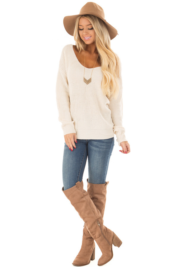 Ivory Knit Sweater with Twisted Open Back front full body