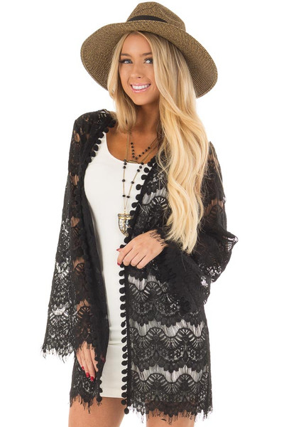 Black Sheer Lace Bell Sleeve Cardigan front closeup