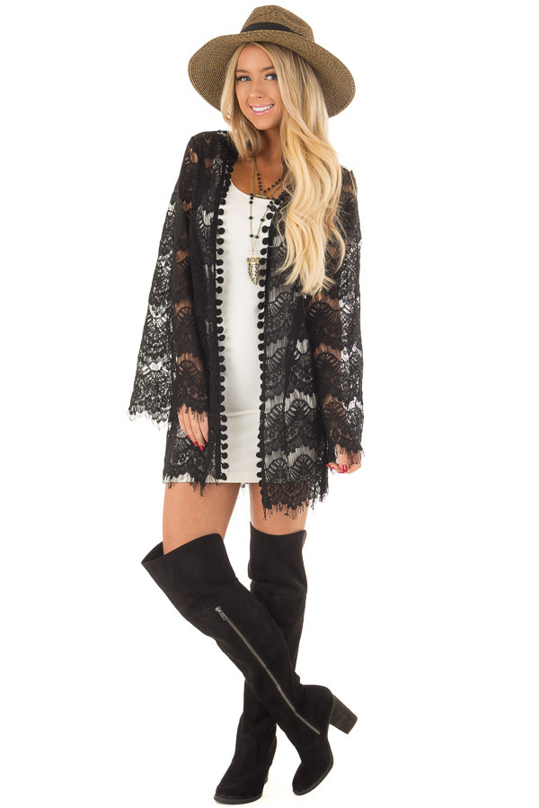 Black Sheer Lace Bell Sleeve Cardigan front full body
